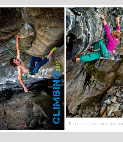 adam ondra and rannveig aamodt in climbing calendar
