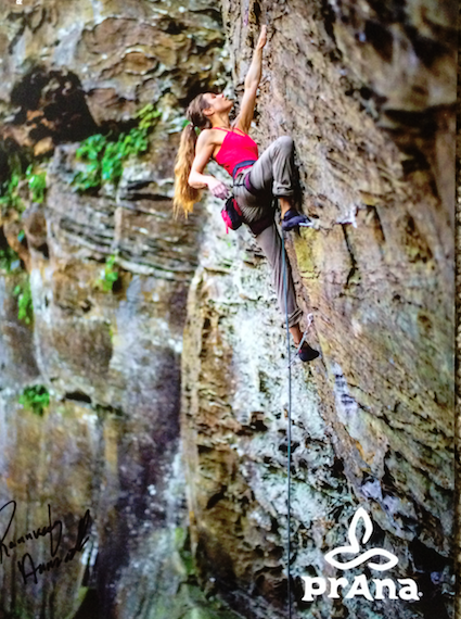 prana climbing poster of strong female climber
