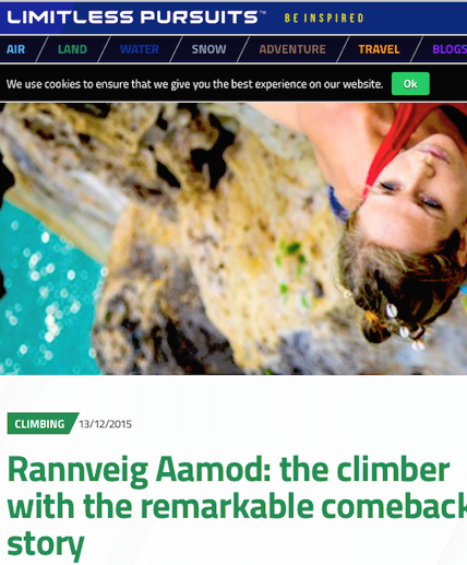 strong female climber rannveig aamodt featured in limitless pursuits